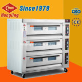 Full Stainless Steel 3-Deck 9-Tray Gas Baking Pizza Oven for Sales