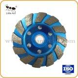 Blue 12 Width Teeth Diamond Cup Shape Wheel, Installed in The Hand Machine.