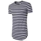 Hot Basic Striped Cotton Longline Custom Men Double Scoop Bottom T Shirt
