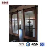 Wood Veneer Double Glass Interior Pocket Door