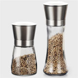 Food Grade 100ml-200ml Glass Spice Pepper Grinder with Metal Cover
