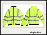 High Visibility Traffic Safety Jacket with Black Polar Fleece Inside