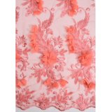 Wholesale Floral African Organza Lace Fabric with 3D Chiffon Wedding Lace Fabric