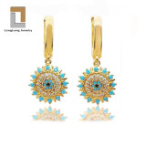 Fashion Gold Plated Blue Turquoise Evil Eye Earring and Charm for Women