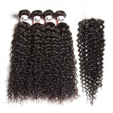 Cheap Brazilian Hair Curly Italian Curly Human Hair Extensions with Lace Closure