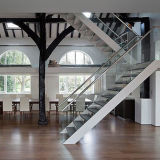 Interior Stainless Steel Handrail Staircase with Solid Wood Steps