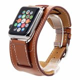 Premium Vintage Cuff Genuine Leather Replacement Watchband with Stainless Metal Clasp for All Apple Watch Sport Edition