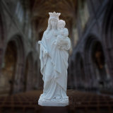 Stone Carving Reigious Marble Statue of St. Mary with Baby Jesus