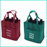 OEM Custom Logo Printing Recyclable PP Non-Woven Non Woven Foldable Shopping Tote Wine Handbags Bag for Promotion