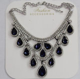 Lady Fashion Waterdrop Glass Crystal Pendant Necklace Costume Jewelry (JE0214-blue)