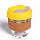Wholesale Keepcup Heat Protect Silicon Glass Coffee Keep Cup with Cork Sleeve and Silicone Lid