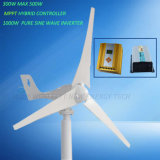 300W Wind Turbine with 12V 24V MPPT Hybrid Controller and 1000W Inverter