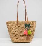 Small Colorful Tassel Decoration Beach Vine Tote Bag (LD-17003)