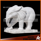 White Marble Carving Elephant Sculptures