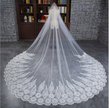 2016 Hot Sale Long Tulle Bridal Veil with Lace Applique Pattern Edge
