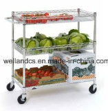 Adjustable 3 Tiers Metal Kitchen Vegetable Trolley with Basket (TR904590A3CW)