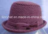 Fashion jacquard Knitted Wool Hat with Bow/Bucket Hat Purple