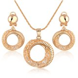 Hot Sale Imitation Women Circle Design Mesh Crystal Jewelry Set