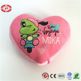 Heart Shape with Frog Pattern Pink Lovely Soft Stuffed Pillow