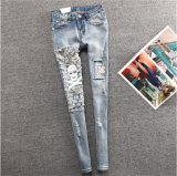 P1122 Autumn Newest Special Skull Design Ladies High Elastic Jeans Ripped Women Washed Long Jeans Slim Holes Denim Female Trouser for Retail