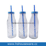 350ml Vintage Glass Milk Bottle Set with Lid and Straw