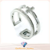 Male Cross Sterling Silver Fashion Jewelry Ring (R10302)
