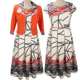 A-Line Fashion Office Suits Orange Jacket and White Slim-Cut Excellent New Design Mother of The Bride Clothing Evening Dresses