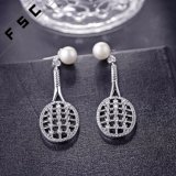 Wholesale Zircon White Gold Plated Pearl Tennis Racket Stud Earrings