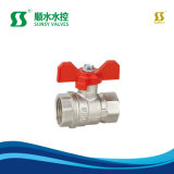 Ssf-30250 Bsp NPT Thread Long Lever Batterfly Handle Nickle Plated Silver Color Brass Ball Valve Full Port PTFE Brass Stem Stainless Steel Nut 59-1 Brass Valve