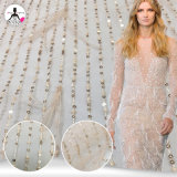 Fantastic Baby Pink Sequins Embroidery Lace Fabric with Gorgeous Feather