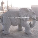 G633 Grey Granite Handcarved Animal Statues Elephant Carvings Landscape Sculptures