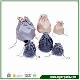 High Quality Simple Design Satin Jewelry Bag with Long Drawstring