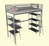 Metal Bunk Bed with Desk and Book Shelf