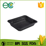 Biodegradable Cornstarch Psm Biobased Plastic Shallow  Meal  Tray Black