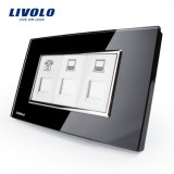 Livolo China Manufacturer Luxury Wall Tel Computer Socket (VL-C392TCC-81/82(Tel/COM/COM))