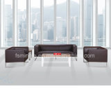 Wholesale Meeting Room Leather Office Sofa with Stainless Steel Frame Base