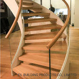 Indoor Modern Design Teak Wood Step Stainless Steel Curved Staircase