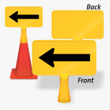 Arrow Plastic ABS Traffic Cone Safety Warning Sign