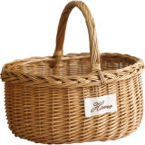 Handmade Woven Wicker Willow Picnic Basket for Fruit Eggs Natural