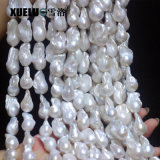 14-16mm AAA High Quality White Natural Cultured Freshwater Nucleated Baroque Pearl Strings (XL190006)