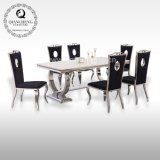 Living Room Furniture Modern Dining Furniture Marble Dining Table Set with Stainless Steel Base