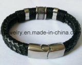 New Fashion 316 Stainless Steel Leather Bracelet with Metal Clasp