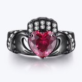 Black Silver Ring with Heart Cut Red CZ
