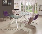 Modern Furniture Tempered Glass Top Metal Dining Table