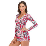 2020 Adult Women Red Onesie Pajamas Romper Nightwear