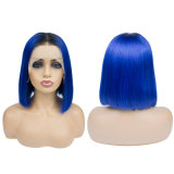 100% Human Hair Ombre Color Bob Front Lace Wig