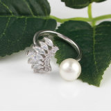925 Sterling Silver Eyelash Ring with Pearl Design