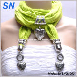 Green Heart Pendant Scarf with Jewelry