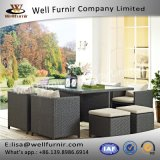 Well Furnir T-095 Sunbrella Cushion Fabric Wicker 9 Piece Square Patio Dining Set