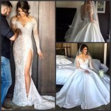 Long Sleeves Bridal Ball Gown Two Pieces Lace Satin Wedding Dress A1709